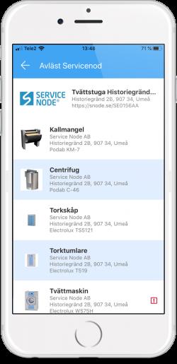 Bild från Service Node appen som visar listan när man skannar en nod med flera serviceobjekt